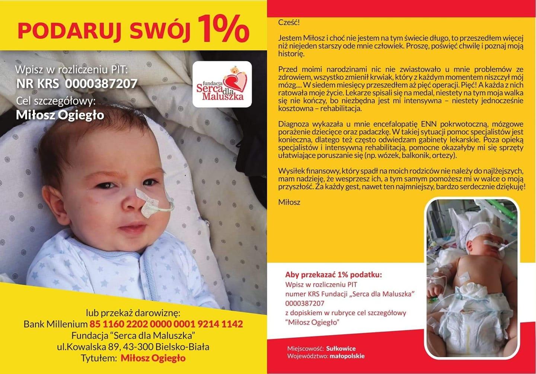 Można oddać 1 % dla chorego Miłoszka z Sułkowic