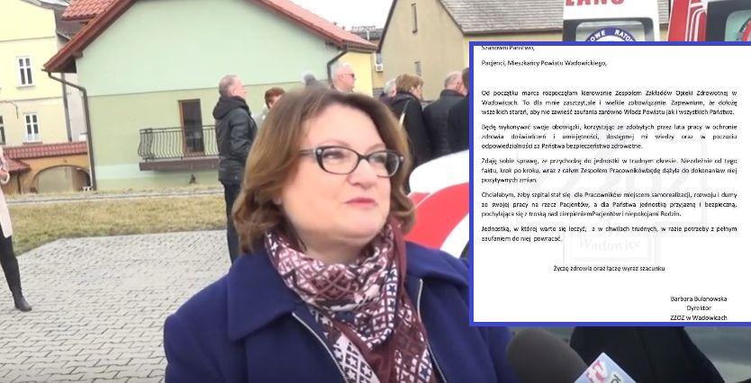 Nowa dyrektor szpitala w Wadowicach zaczęła urzędowanie w nietypowy sposób