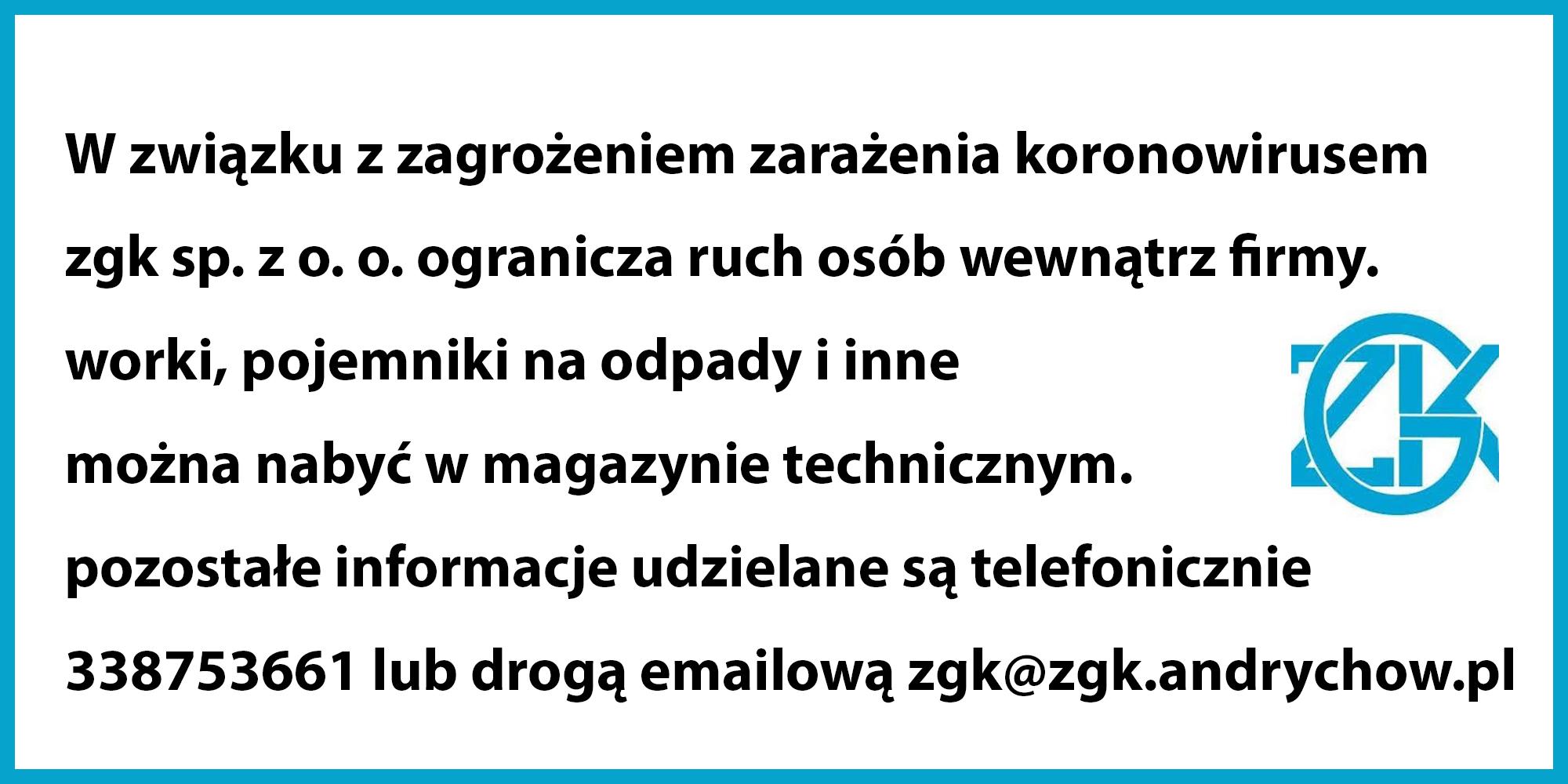 Komunikat ZGK Andrychów
