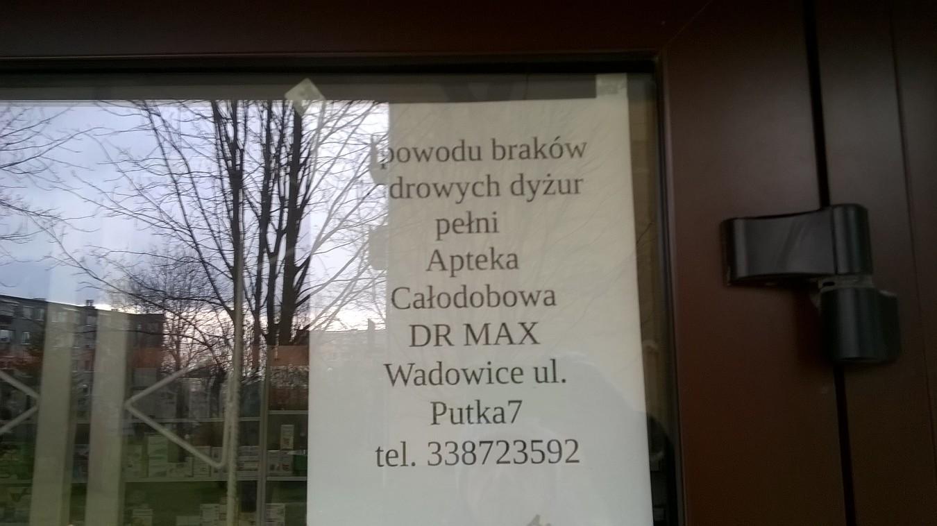 Apteka z Andrychowa zrezygnowała, po leki do apteki do Wadowic