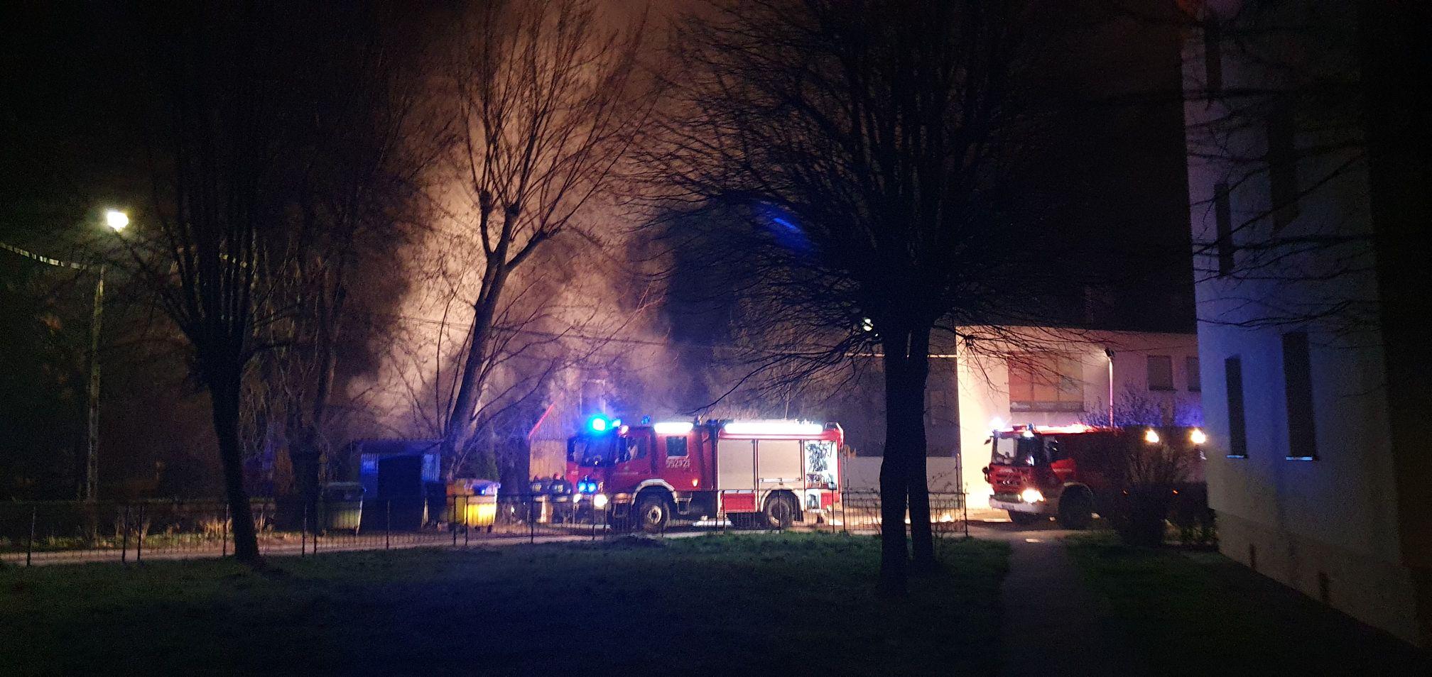 Pożar budynku na Olszynach w Andrychowie [FOTO]