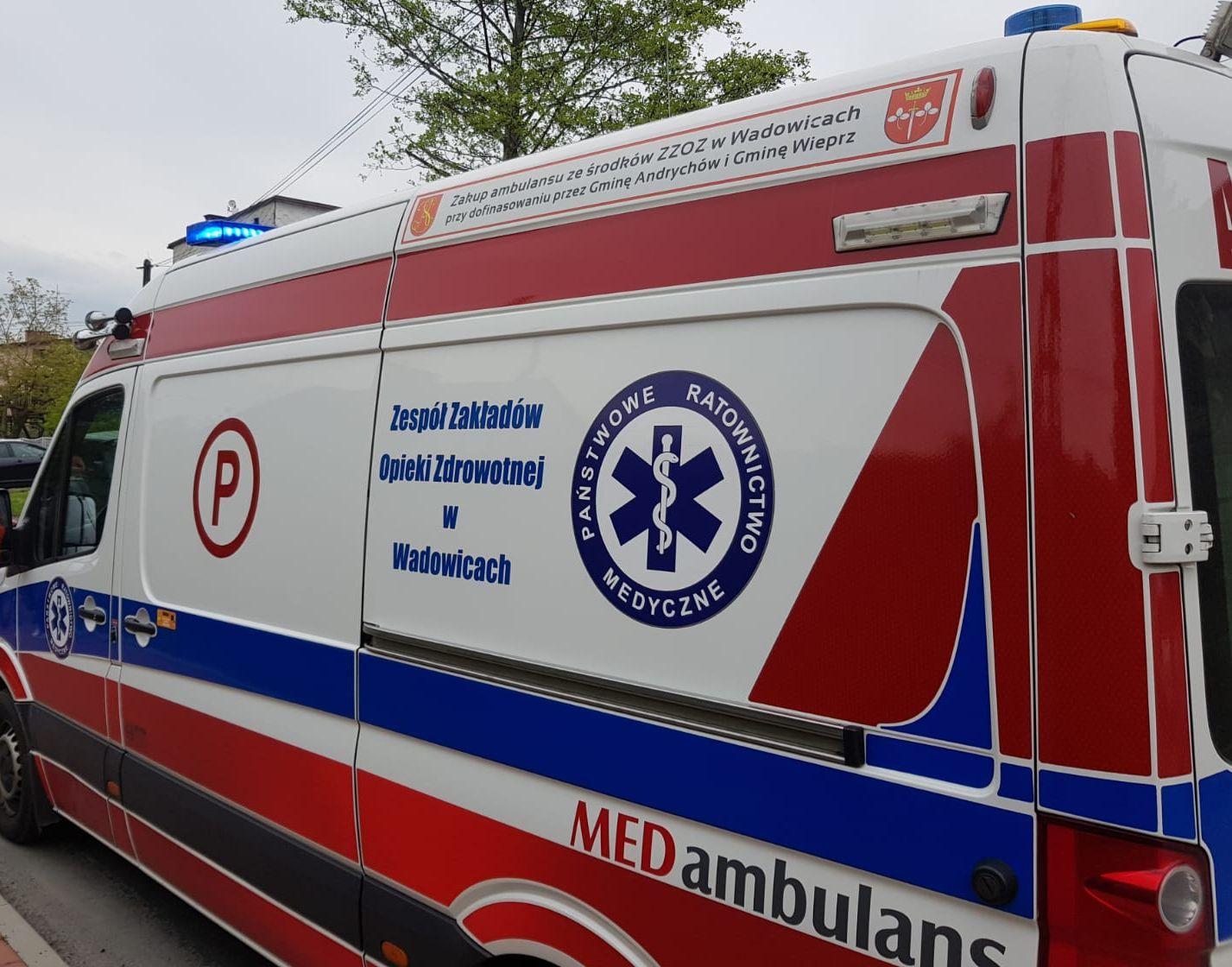 Kura wbiegła na drogę, poszkodowany rowerzysta trafił do szpitala