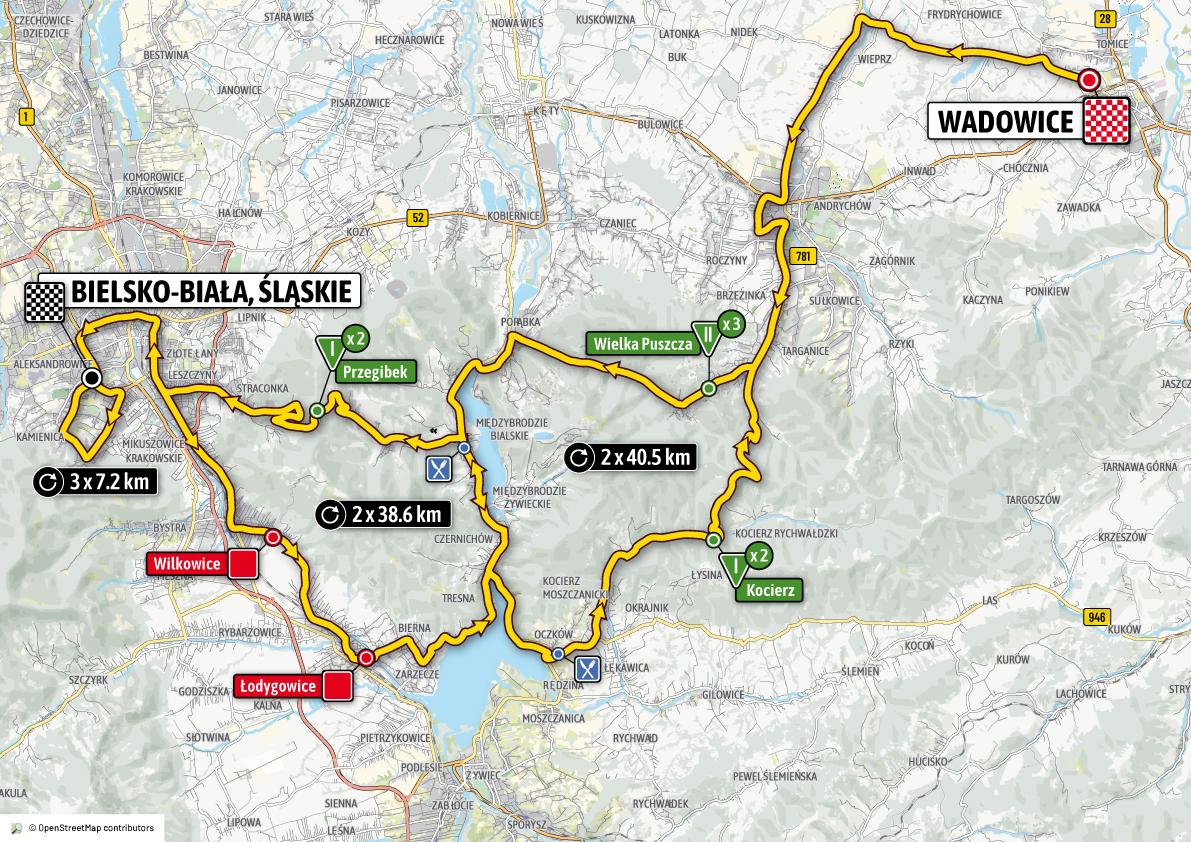 Znana dokładna trasa tegorocznego Tour de Pologne.Kolarze dwukrotnie przyjadą przez powiat wadowicki