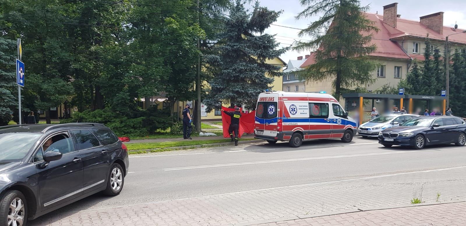Akcja służb ratowniczych w centrum Andrychowa