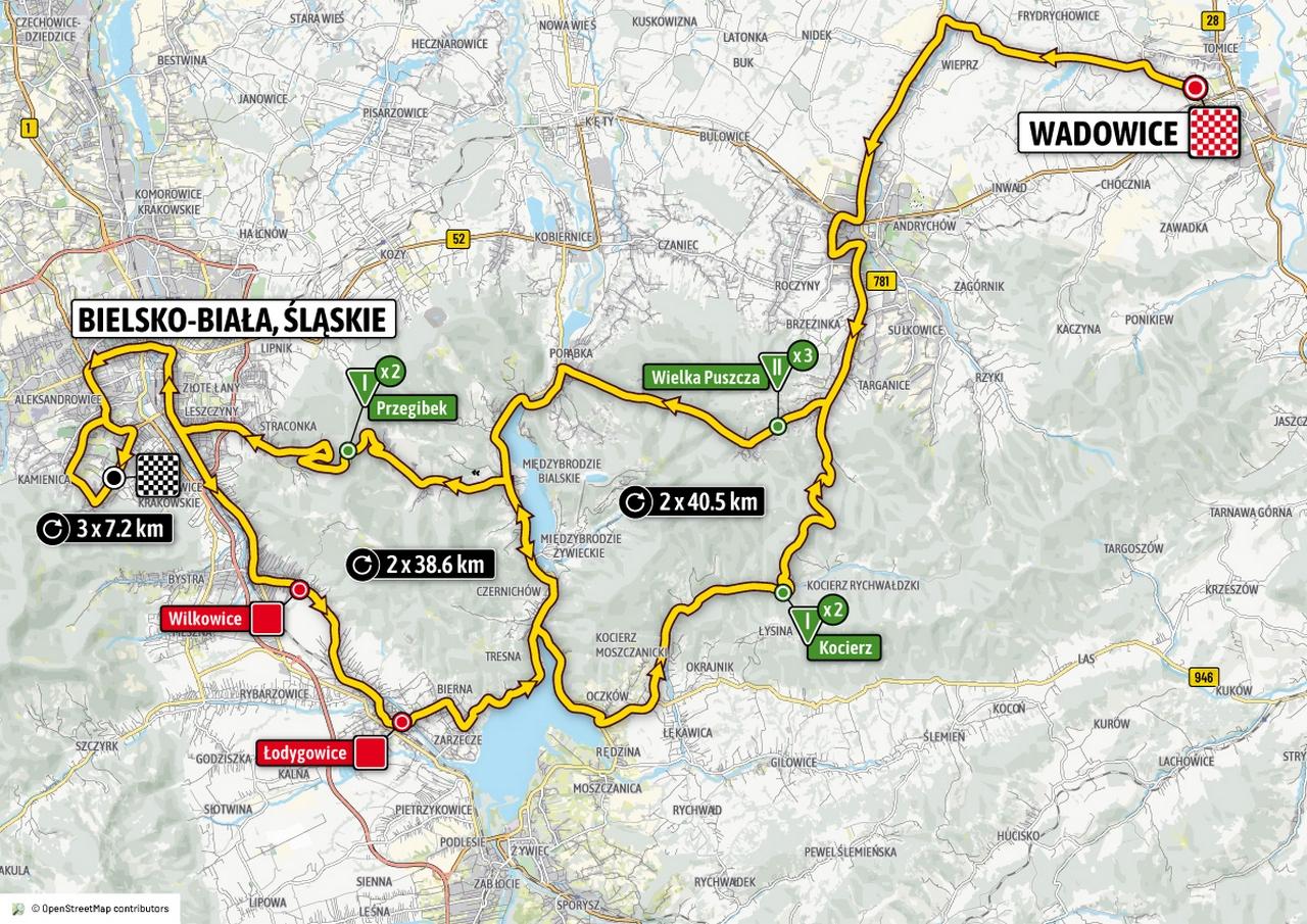 Tour de Pologne w piątek przez Wadowice, Wieprz, Andrychów. Czasy przejazdu