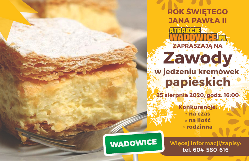 """AtrakcjeWadowice.pl zapraszają na """"Zawody w jedzeniu kremówek papieskich"""" - ruszają zapisy!"""