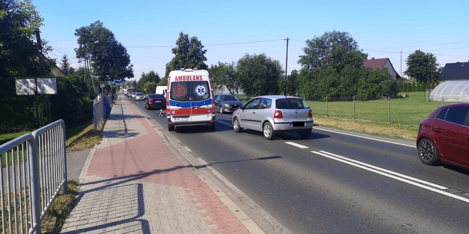 Potrącenie na drodze Andrychów - Wadowice
