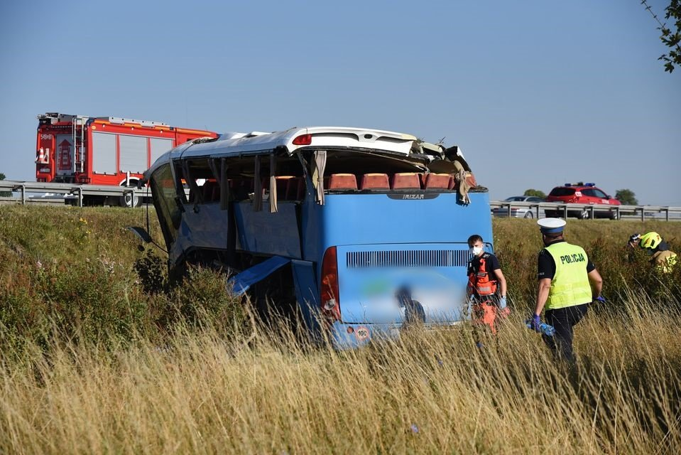 Wypadek autokaru z Andrychowa na autostradzie