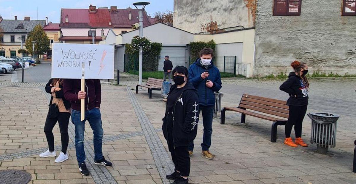 Mały protest w Andrychowie i