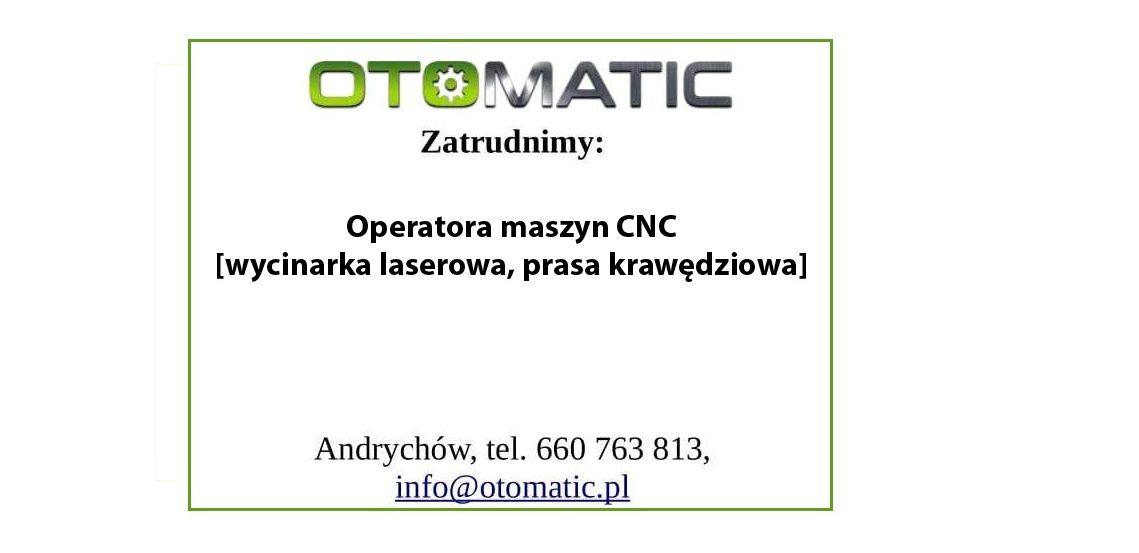 Praca: operator maszyn CNC