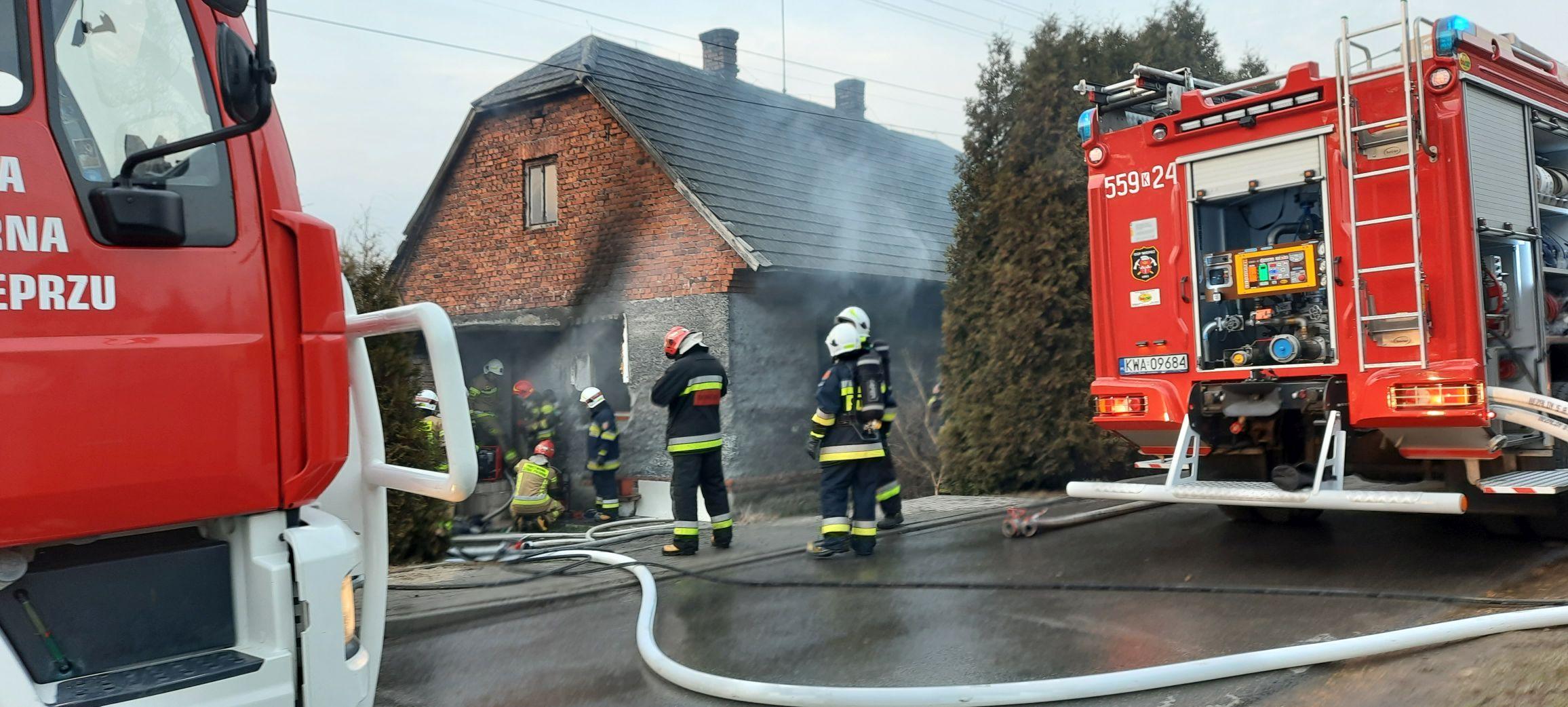 Pożar budynku w Wieprzu