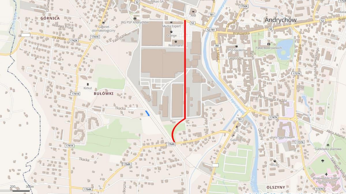 łącznik tkacka - krakowska mapa